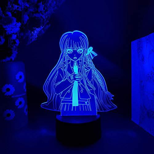 Lámpara de anime 3D ilusión de videojuego Kirigiri Kyouko Otaku lámpara de noche LED sensor de luz kawaii niñas regalo hogar dormitorio iluminación iluminación superior decoración - no remoto