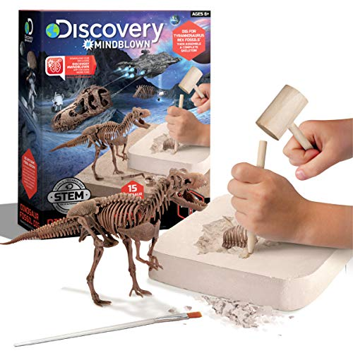 Discovery #MINDBLOWN 15 Piece Dinosaur 3D Fossil Dig Excavation Kit, T-Rex Skeleton Puzzle, Dig for Bones with Included Tools
