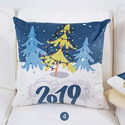 SYyshyin Cojín de terciopelo azul con diseño navideño para sala de estar, sofá o cama de año nuevo (color: D)