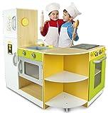 Leomark Flex Küche Corner aus Holz - Grün - Kinderküche mit Zubehör, Kühlschrank, Ofen, Eck-Spielküche, Spielküche Modular, 3 Module, Spielküche für Kinder, Höhe: 98,5 cm