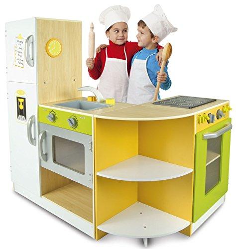 Leomark cucina Exclusive Flex, gioco in legno, concept giocattolo per bambini, nuovo accessori per cucina, educazione tavola fornello divertimento, dimensioni: 138cm x 34cm x 98,5cm (LxPxA)