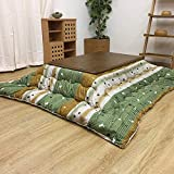 Foot Warmer Coffee Table, Japanese-Style Kotatsu Tables, Tatami Heated Stove Futon Table, with Embedded Heater, Soft Blanket, Rug, Classic Print,B