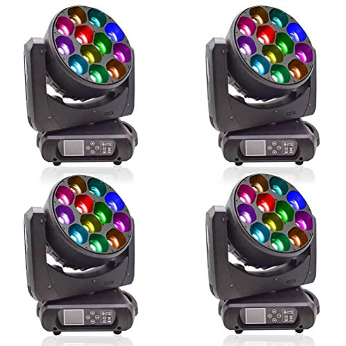 (4/lot) Stage Lights Zoom Wash Moving Head 12x40w Mixing Color with Sound Activated Stage Lighting Effect with RGBW 4in1 LED Dmx Control DJ Disco Nightclub and Christmas for Wedding and Project