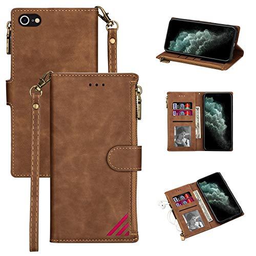 LOLFZ Funda para iPhone 7, iPhone SE 2020, funda para iPhone 8, funda de piel de alta calidad, con soporte para tarjetas, cierre magnético, color marrón