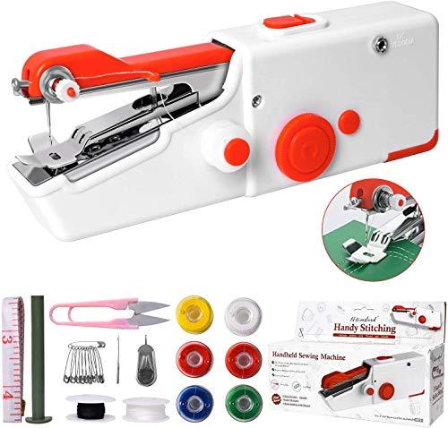 Obtto Mini máquina de coser eléctrica portátil para principiantes adultos, fácil de usar y puntada rápida adecuada para ropa, tejidos, cutains, bricolaje viaje en casa
