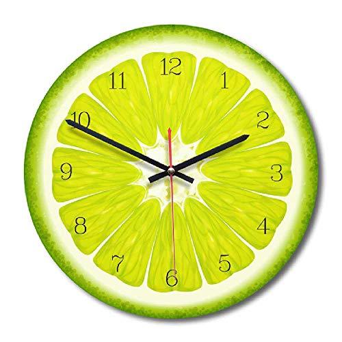 zhuao Reloj De Pared Creativo De Frutas, Reloj De Decoración del Hogar De Cocina, Reloj De Pared De Frutas Tropicales Limón