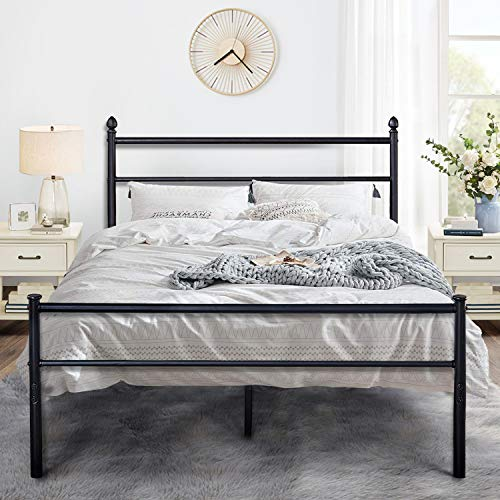 VECELO Metal Bed Frame Platform Mattress Foundation/Box Spring Replacement with Headboard &...
