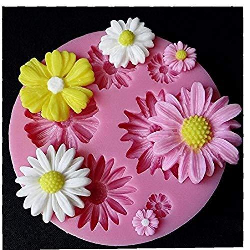 Flor 1PCS Sun Rosado Forma del Molde de Silicona del Molde 3D para el jabón de Caramelo de Chocolate de Hielo Flores de la Torta Que adorna Las Herramientas