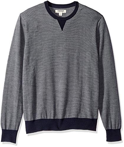 Amazon Brand - Goodthreads Men's Lightweight Merino Wool Crewneck Sweater, Navy Micro Stripe, X-Small