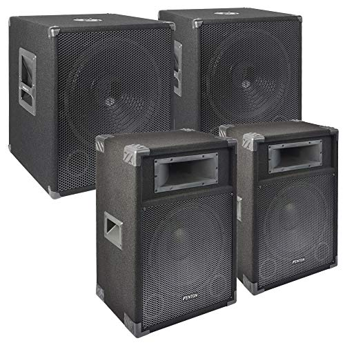 SkyTec 2400W Disco DJ set met subwoofers, speakers en kabels