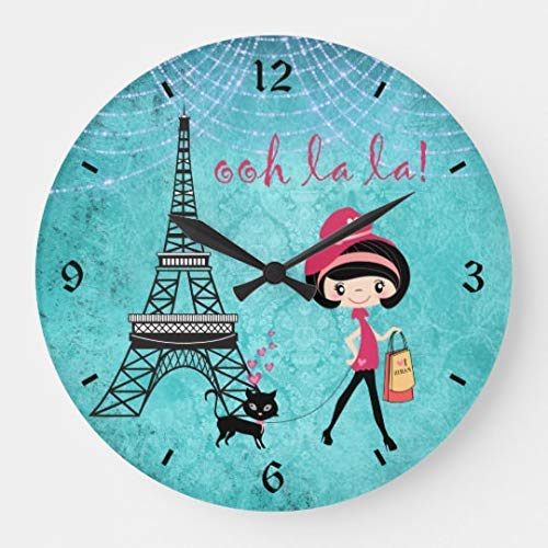 Simpson Rebecca Cute Blue Girl Cat and Eiffel Tower Paris Large Wall Clock Decor for Bedroom Nursery Round Silent Wood Clock Art for Kids Girls Boys Room 12 Inches