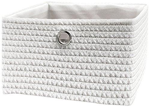 FRANDIS 181115 Paniers de Rangement Blanc Matière : PP + térylène à l'intérieur, poignée en INOX Dim Produit : 24 x 23 x 16 cm