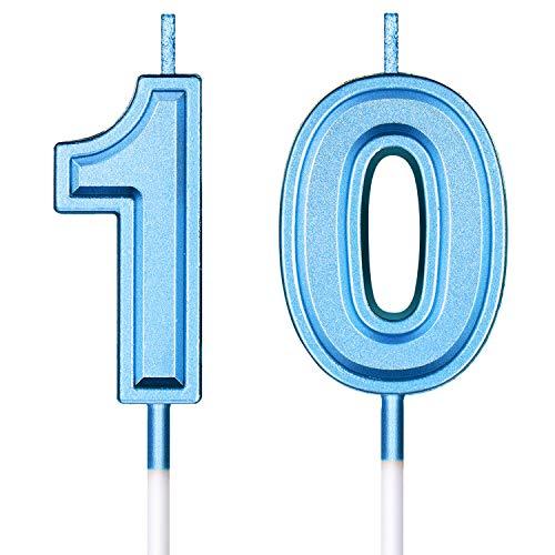 10. Geburtstag Kerzen Kuchen Nummer Kerzen Alles Gute zum Geburtstag Kuchen Topper Dekorationen für Geburtstag Hochzeit Jahrestag Feier Zubehör (Blau)