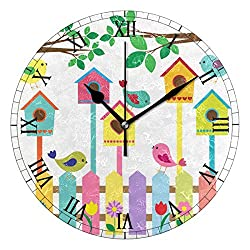AHOMY Round Wall Clock Birds Fence Birdhouses Home Art Decor Non-Ticking Numeral Clock for Home Office