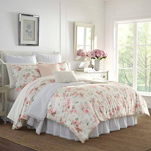 Laura Ashley Home | Wisteria Collection | Luxury Ultra Soft Comforter, All Season Premium 3 Piece Bedding Set, Stylish Delicate Design for Home Décor, Full/Queen, Blush
