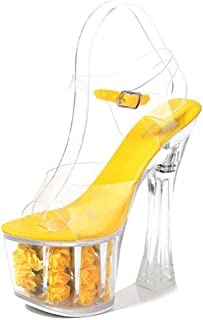 Womens Transparent Crystal Wedding Sandals,PeepToe Rose Ultra High Heels,Fish-Billed BlockHeelBucklePromPartyShoes,Yellow,40 EU