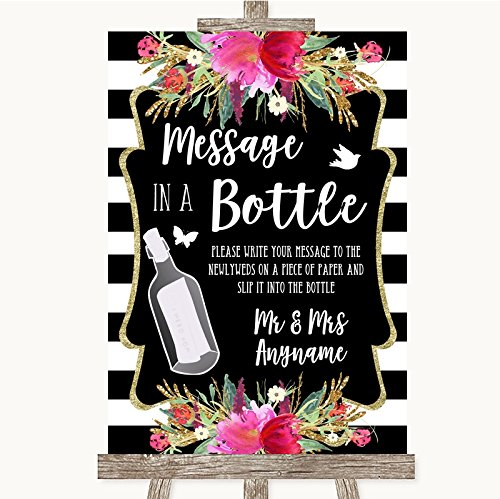 Zwart-wit strepen roze collectie zwart-wit strepen roze boodschap in een fles bruiloft teken Framed Oak Small Zwart/Wit