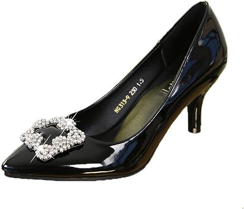 Chaussures Femme Escarpin Mode Talon Aiguille Haut Pumps Pointue Vernis Boucle Clouté Escarpins Noir 39