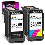 ColoWorld Remanufactured Ink Cartridge Replacement for Canon PG-245XL CL-246XL PG-243 CL-244 for Pixma MX492 MX490 TR4520 MG2522 MG2922 MG2520 MG2920 MG3022 iP2820 TS202 Printer (1 Black 1 Color)