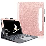 Surface Go Case(NOT FIT Surface PRO), ACdream Multiple Angle Viewing with Pocket Business Cover Case for Microsoft Surface Go Tablet 2018 Release (Support Type Cover Keyboard), Rose Gold Glitter