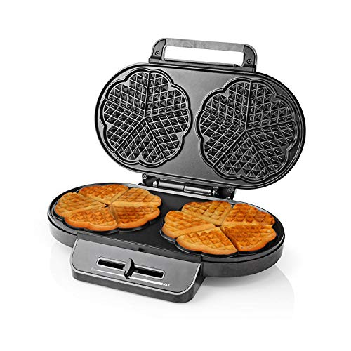 Ex-Pro Waffle Maker Iron, Double Heart Shape Waffle Machine with Non Stick Plates & Adjustable Temperature Control, 1200W - Black/Silver