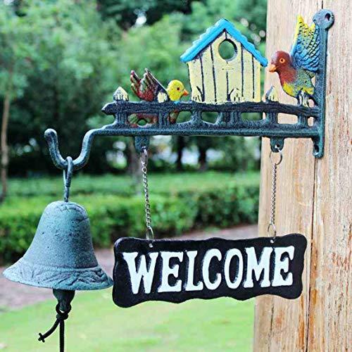 TLMY Gietijzeren deurbel creatieve landelijke stijl hand-cranked hanger wanddecoratie ijzeren bel vogel nest wind chime 32.5x4x33cm Retro deurbel