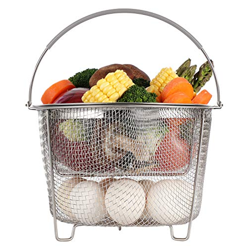 Aozita Steamer Basket for Instant Pot Accessories 6 qt or 8 quart - 2 Tier Stackable 18/8 Stainless Steel Mesh Strainer Basket - Silicone Handle - Vegetable Steamer Insert, Egg Basket, Pasta Strainer