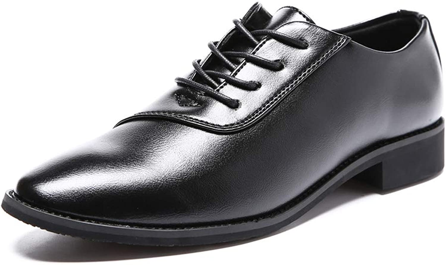 CHENDX shoes, Men's Fashion Classic Pointed Business Oxford Casual Soft Leather Lace Formal shoes (color   Black, Size   6.5 UK)