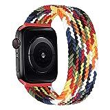MroTech Correa Compatible con Apple Watch 44mm 42mm Pulseras de Repuesto para iWatch SE Serie 6 5 4 3 2 1 Correa de Nailon elástico Banda Elastic Nylon Woven Loop Sport Band 42/44 mm-Vistoso/L