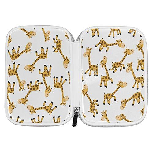 Bardic Pen Pencil Case Cute Cartoon Giraffe Animal Makeup Brush Bag Travel Organizer Cosmetic Pouch Passport Holder for Men Women