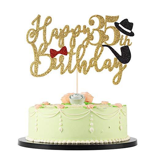 LVEUD 35th Birthday Happy Birthday Cake Topper Golden Font Red Bow tie Black hat Men Happy Birthday Cake Topper Birthday Party Cake Decorations (35)