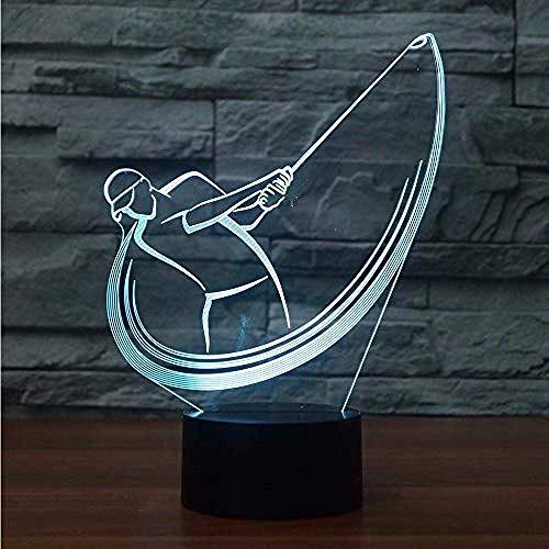 Luz de noche 3D forma de columpio de golf lámpara de mesa de efecto visual luz de noche de acrílico Led luz de repuesto de 7 colores s regalo decoración del dormitorio luz de noche