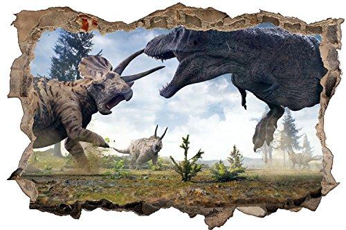 Dinosaurier Kampf T-Rex Dino Urzeit Wandtattoo Wandsticker Wandaufkleber D0571 Größe 70 cm x 110 cm