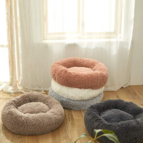 Soft Shaggy and Warm for Winter Uozzi Bedding Plush Faux Fur Round Pet Dog Bed Comfortable Fuzzy Donut Cuddler Cushion for Dogs /& Cats