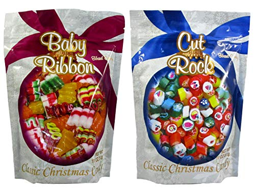 Primrose Old Fashion Christmas Hard Candy - Bundle of 2 Bags: Baby Ribbon and Cut Rock