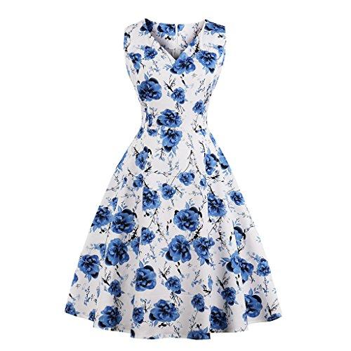 GAESHOW Vestido de Noche Plisado con Cuello en V con Estampado Floral Retro de los años 50 Vestido de Novia Estilo Banquete de Hepburn para Mujer(Azul Claro, Small)
