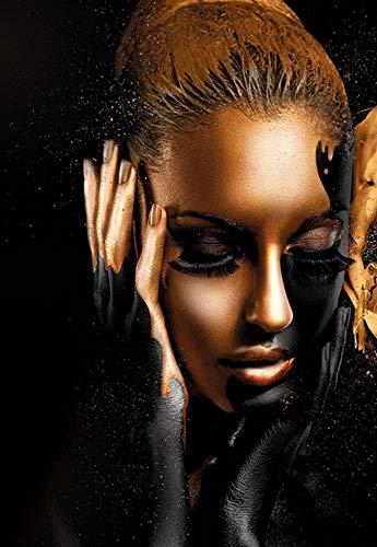 Blrpbc Pintar por Numeros Pintura por Números DIY Negro Dorado Mujer Africana Pintura al óleo sobre Lienzo Cuadros de Pared decoración de Regalo Hecha a Mano Sin Marco 40x50cm