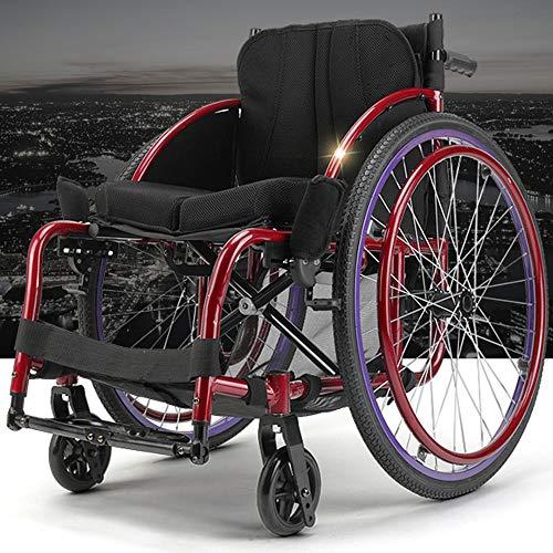 SSLL Faltbar Leicht Sport-Rollstuhl Leichter Tragbarer Schneller Selbstfahrender Rollstuhl Mit Ultraleichtem Aluminium-Schnellspanner Für Die Hinteren Radstoßdämpfer