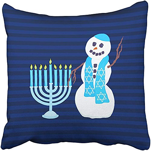 Decorative Throw Pillow Cover Square Size 18x18 Inches Holiday Hanukkah Jewish Snowman Blue Menorah Holiday Pillowcase Hidden Zipper Decor Cushion Gift Holiday Sofa Bed
