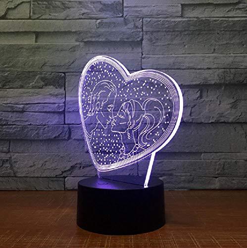 Nuevas Luces 3D De Siete Colores Regalos Para El Día De San Valentín Interruptor Táctil De Luz Nocturna Led Lámpara Encantadora De 7 Cambios De Color 3D