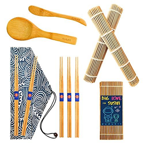 Kit Sushi Fai da Te, 10 Pezzi - 2 Tappetini per Arrotolare Sushi - 5 Paia di Bacchette Giapponesi - 1 Mini Borsa per Riporre le Bacchette
