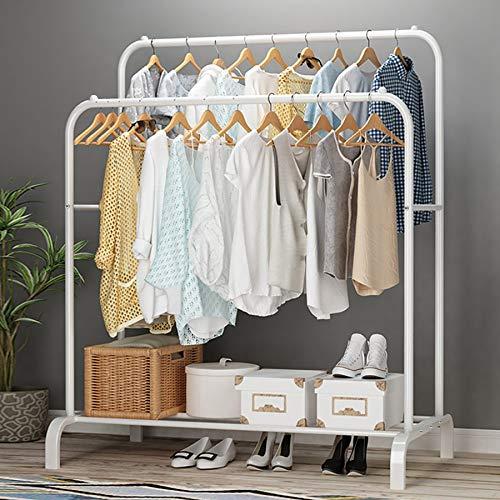 UDEAR Kleiderständer Freistehender Kleiderbügel Doppelruten Multifunktional Schlafzimmer Kleiderständer, Weiß
