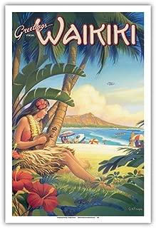 Greetings from Waikiki, Hawaii - Ukulele Hula Girl - Diamond Head Crater - Vintage Style Hawaiian Travel Poster by Kerne Erickson - Master Art Print - 12 x 18in