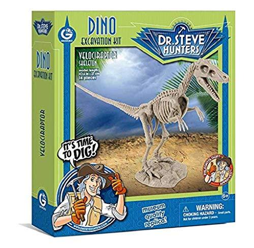 Geoworld 625264 - Dr. Steve Hunters: Dino Ausgrabungs-Set - Velociraptor-Skelett, Alter: 6+,Größe: 27 cm