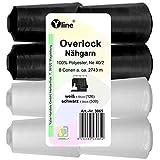 Yline Juego de 8 bobinas Overlock, hilo de coser, blanco y negro 2743 m, NE 40/2, 100% poliéster,...
