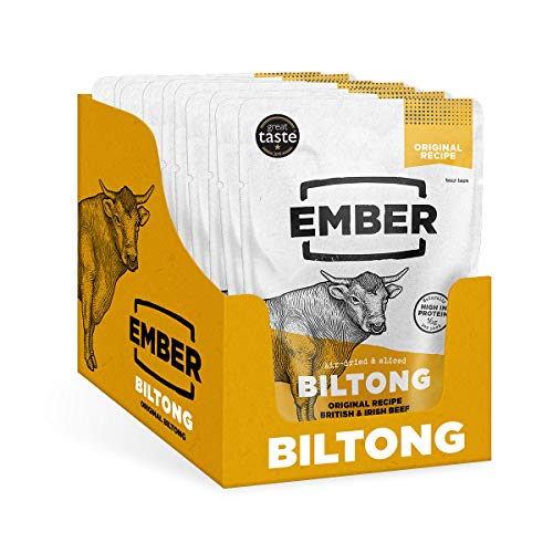 Ember Biltong - Beef Jerky Original - Proteinreicher Snack - Original (10 Stück)