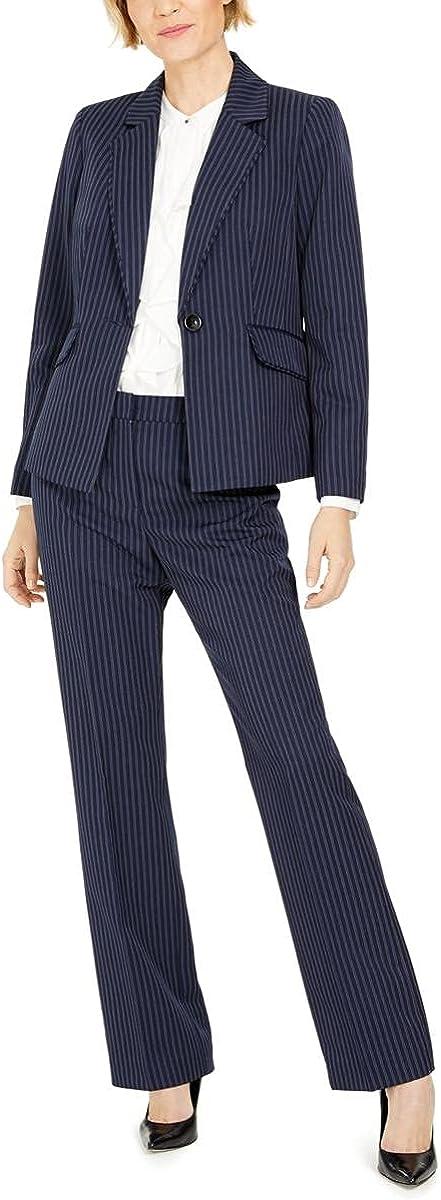 Le Suit Women's 1 Button Notch Collar Double Pinstripe Pant Suit