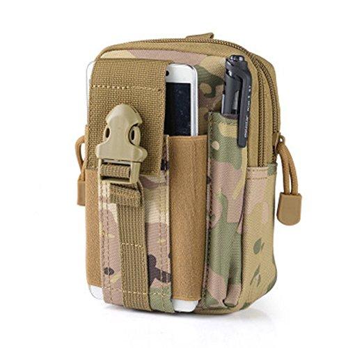 Sac ceinture de yaruijia extérieur tactique Molle EDC Camping Randonnée Sac à main Pochette Téléphone Portable, CP Camouflage