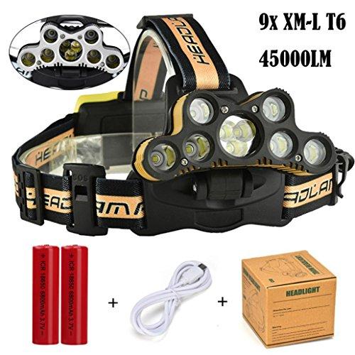 moonuy Lampes Frontales,45000 LM 9 x XM-L T6 LED Rechargeables Puissante 6 Modes Adjustable Lampe Torches USB Rechargeable Etanche Parfait pour l'escalade,Le Camping, la Pêche, Le Cave,Le VTT (Jaune)