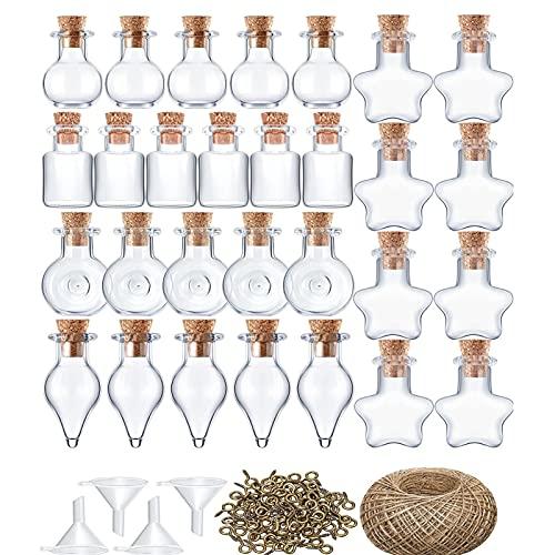 50 Botellas De Vidrio, Pequeñas Botellas De Deseos Mini Embudo, Decoración De Botellas De Vidrio Para Deseos, Regalos Adecuados Para Niños Y Adultos